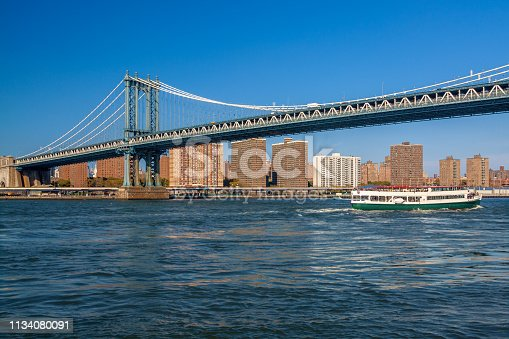 Manhattan Bridge, Tour Boat Sailing in East River, FDR Drive and Residential Highrises of Lower East side, New York, USA.