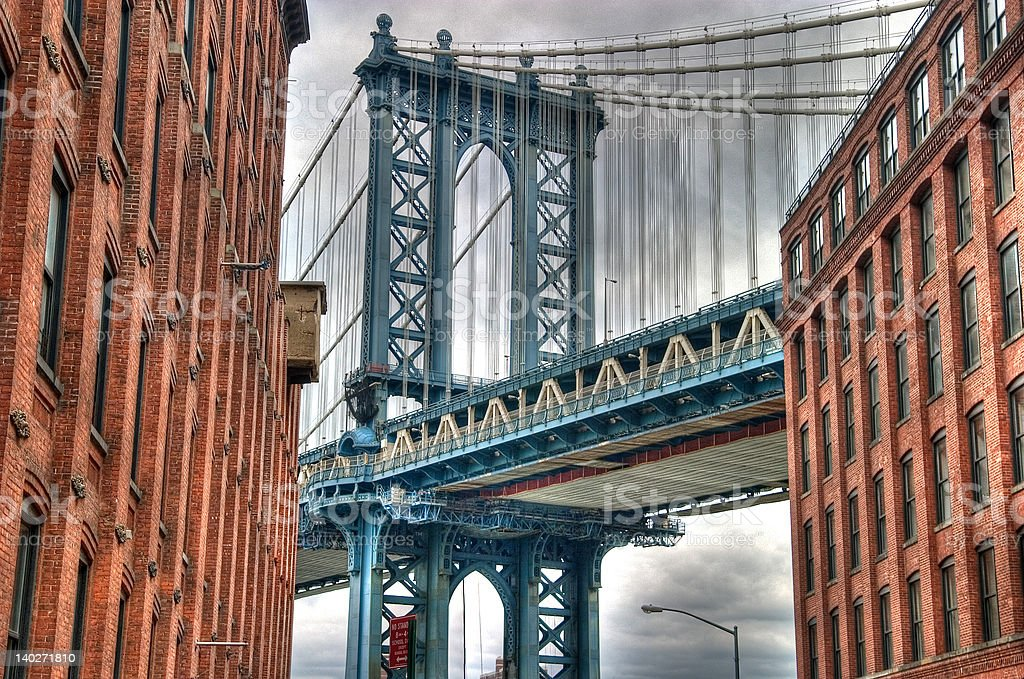 Manhattan Bridge with Buildings royalty-free stock photo