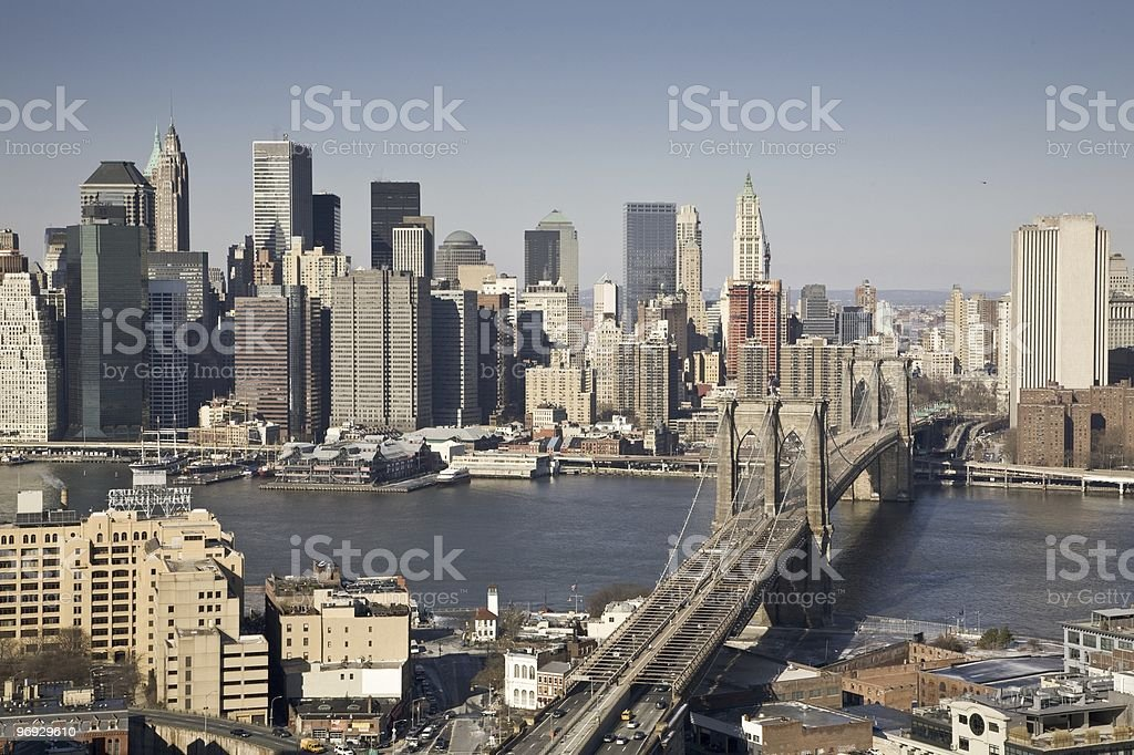 Manhattan & Brooklyn Bridge royalty-free stock photo
