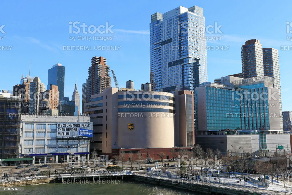 Manhattan building at Hudson river near Intrepid Museum stock photo