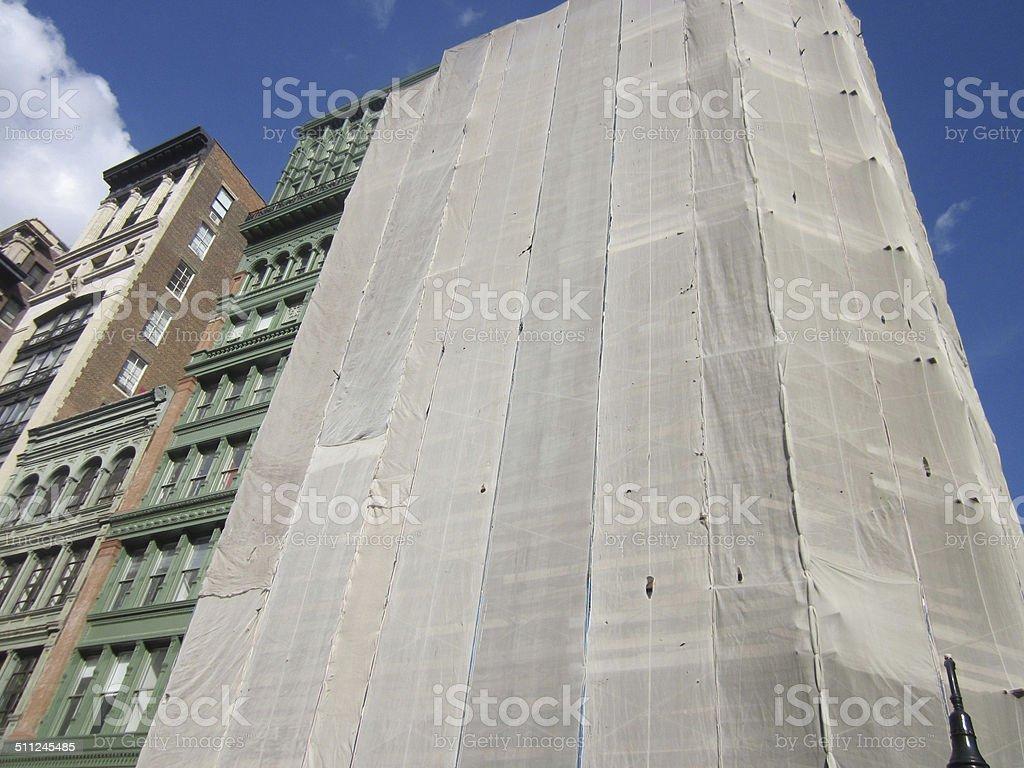 Manhattan bulding under construction stock photo