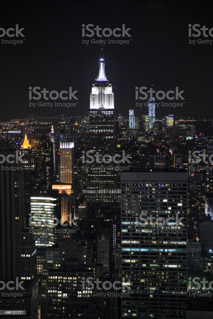 manhattan by night from the Rockefeller center stock photo