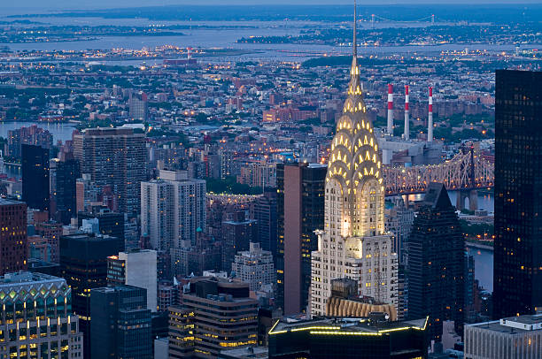 manhattan by night - chrysler building stock photos and pictures
