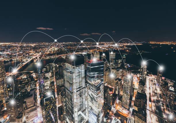 Manhattan City Network Technology stock photo