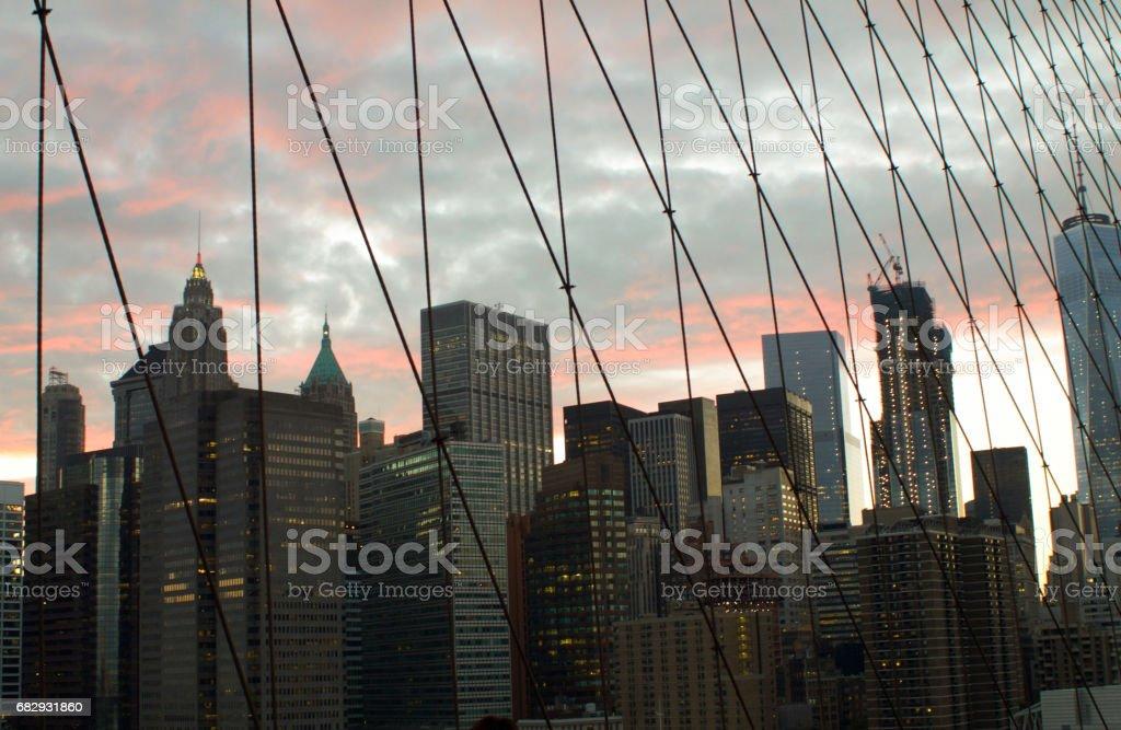Manhattan cityscape from brooklyn bridge royalty-free stock photo