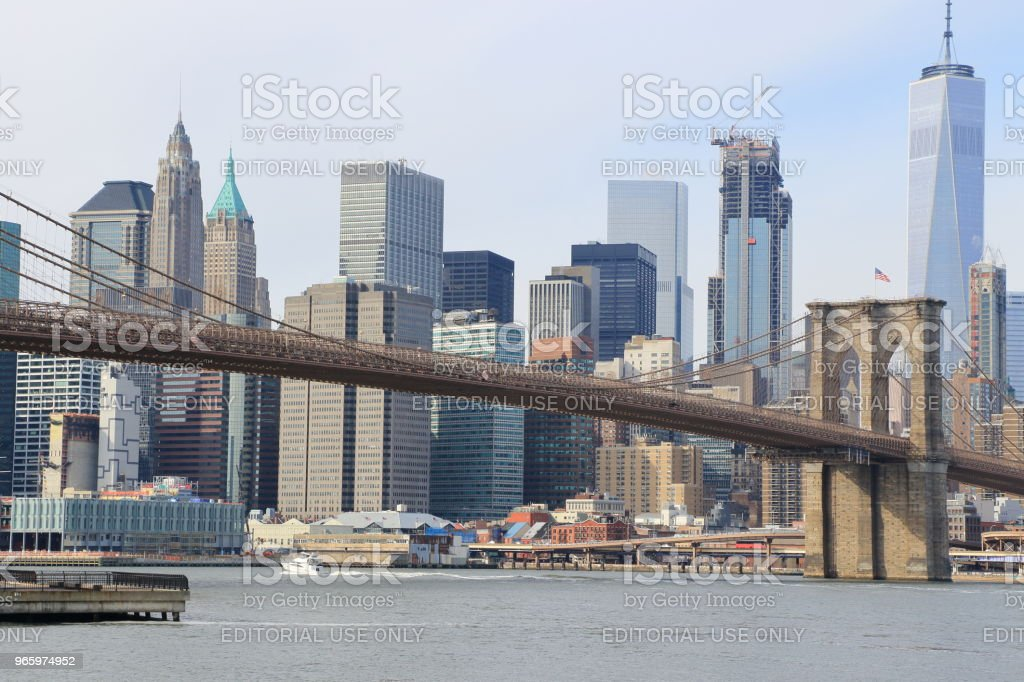Manhattan stadsbilden - Royaltyfri Bro Bildbanksbilder