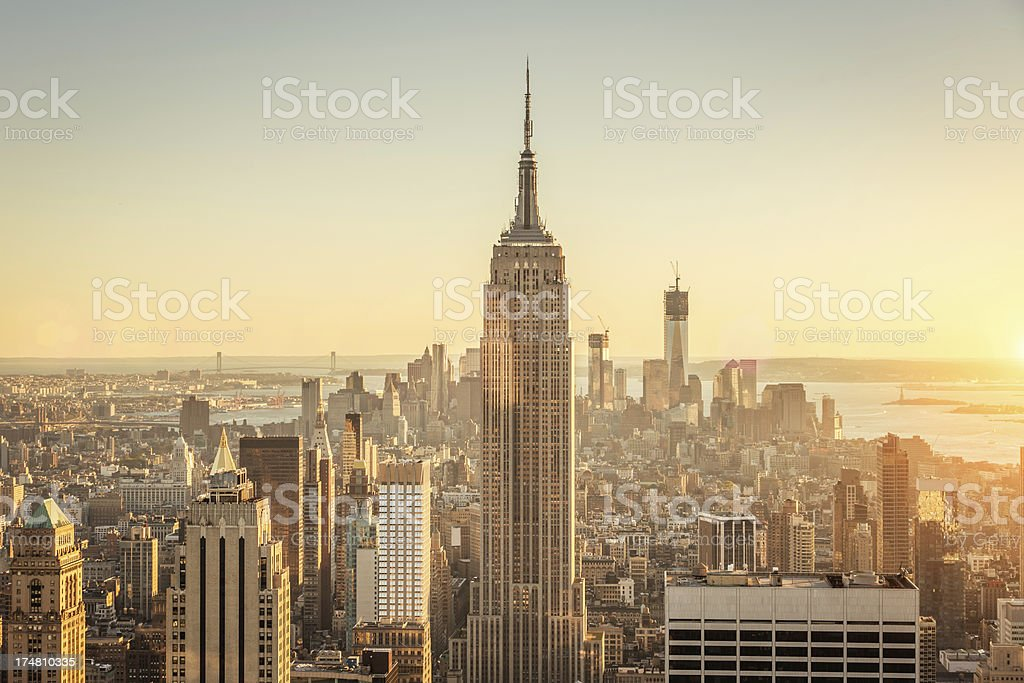 Manhattan Cityscape,Sunset Skyline royalty-free stock photo