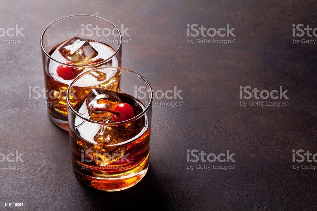 Manhattan cocktail stock photo