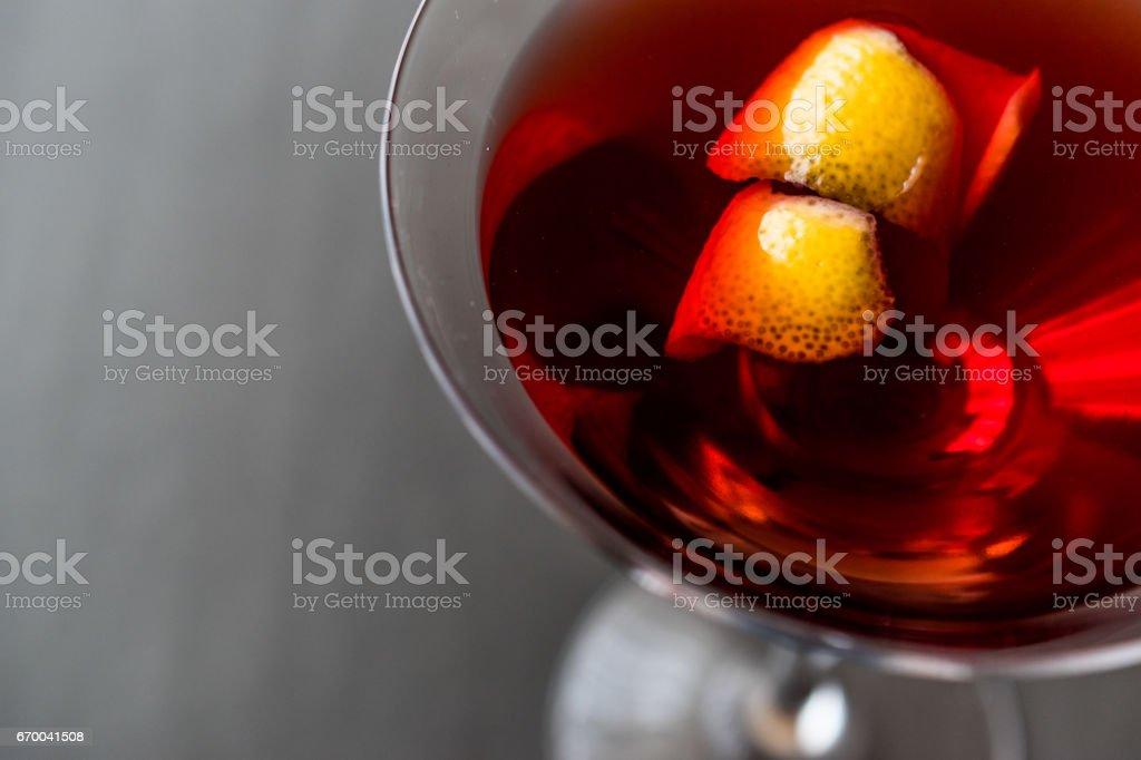 Manhattan Cocktail with orange peel. stock photo