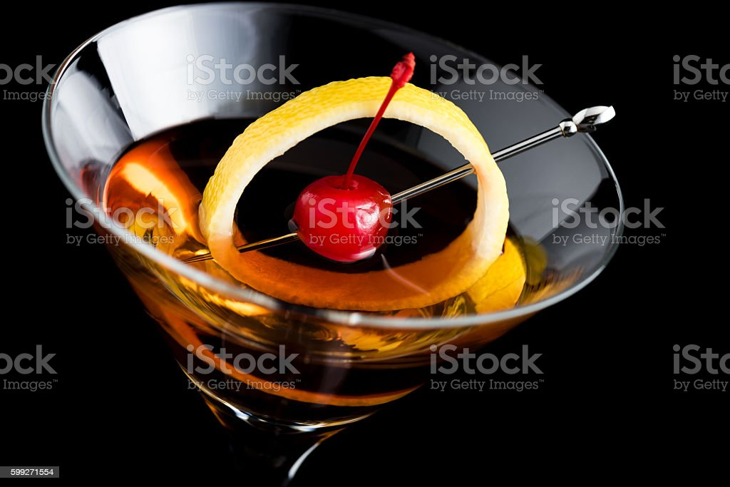 Manhattan Cocktails On Black Background With Garnish Stock Photo Download Image Now Istock