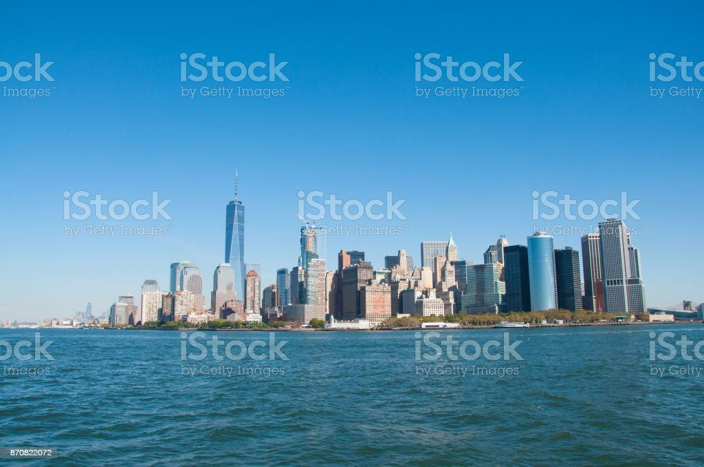 Manhattan Downtown Cityscape during the day stock photo