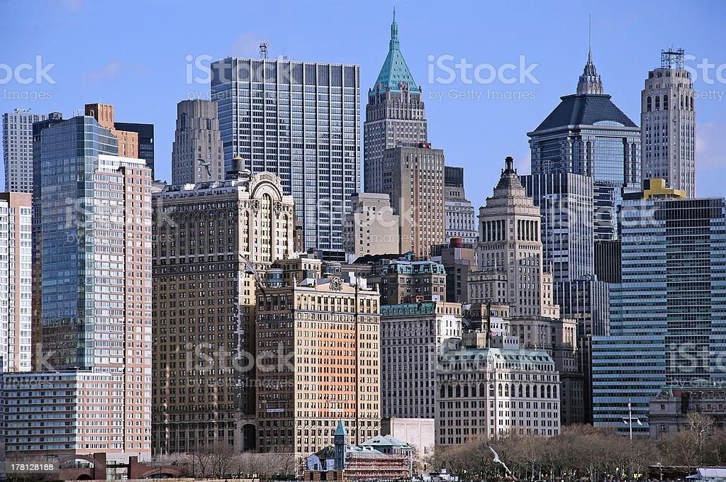Manhattan downtown skyline royalty-free stock photo