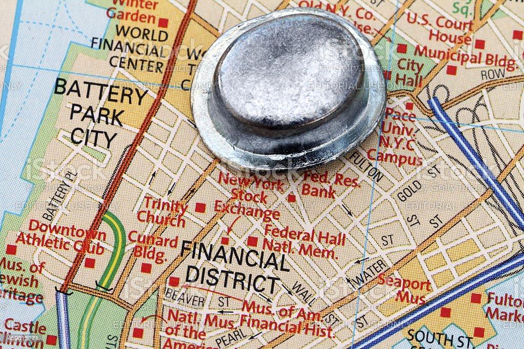 Manhattan Financial District map royalty-free stock photo