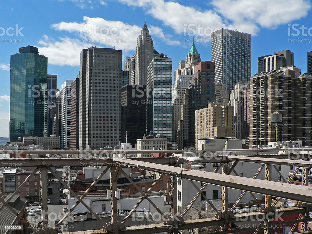 Manhattan from Brooklyn bridge royaltyfri bildbanksbilder