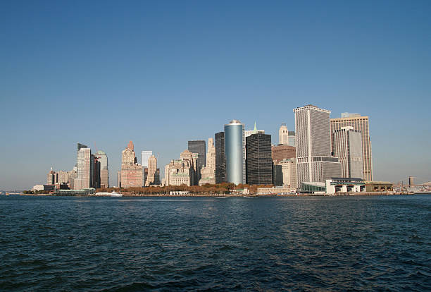 Manhattan from the sea stock photo