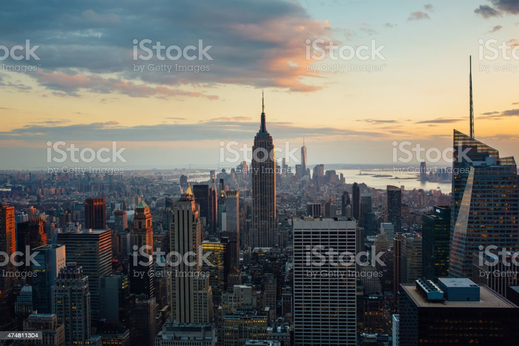 Manhattan in New York  aerial view at twilight stock photo