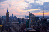 High angle view of Empire State Building and Manhattan in New York City