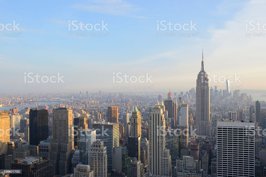 Manhattan in New York with Empire State Building stock photo