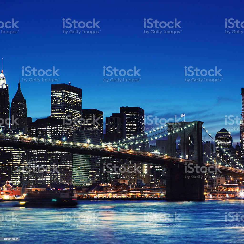 Manhattan in NYC by night royalty-free stock photo