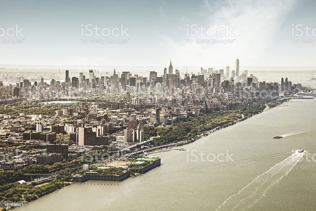 Manhattan Island aerial view royalty-free stock photo