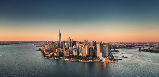manhattan island aerial view manhattan island aerial view manhattan financial district stock pictures, royalty-free photos & images
