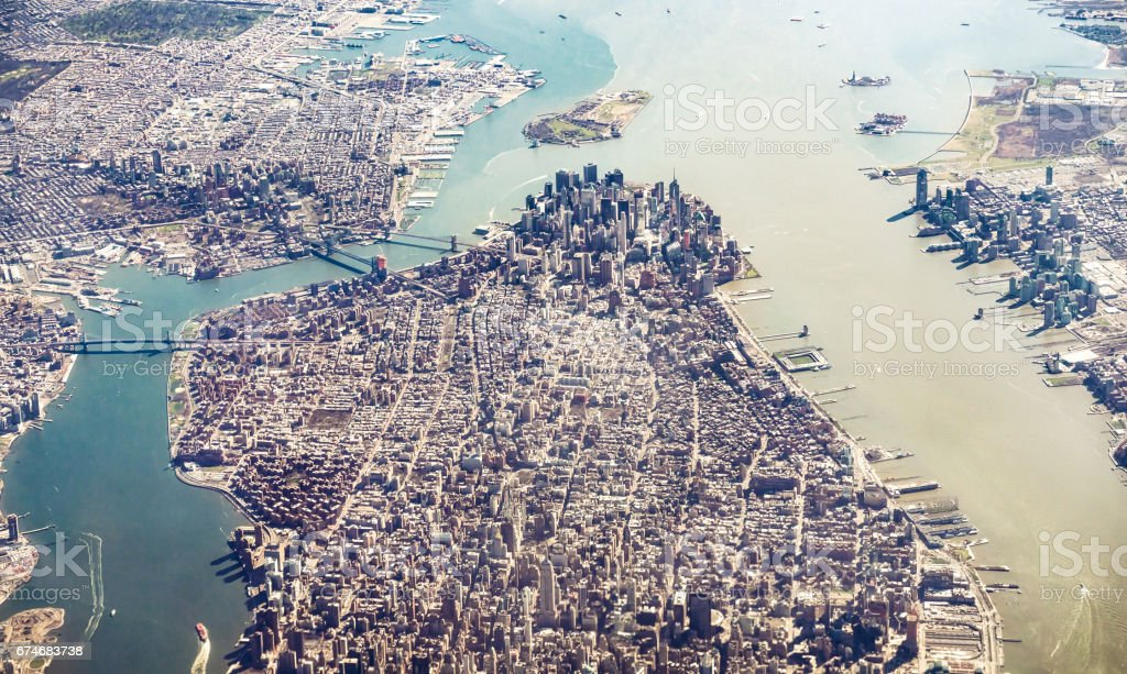 Manhattan Island and Brooklyn from the air stock photo