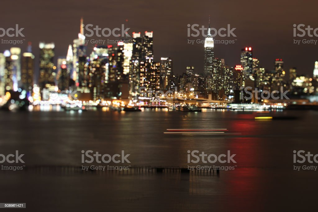Manhattan Island Night stock photo