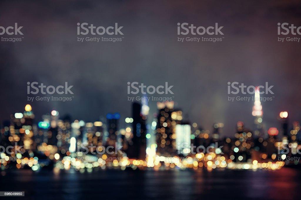 Manhattan midtown bokeh at night royalty-free stock photo