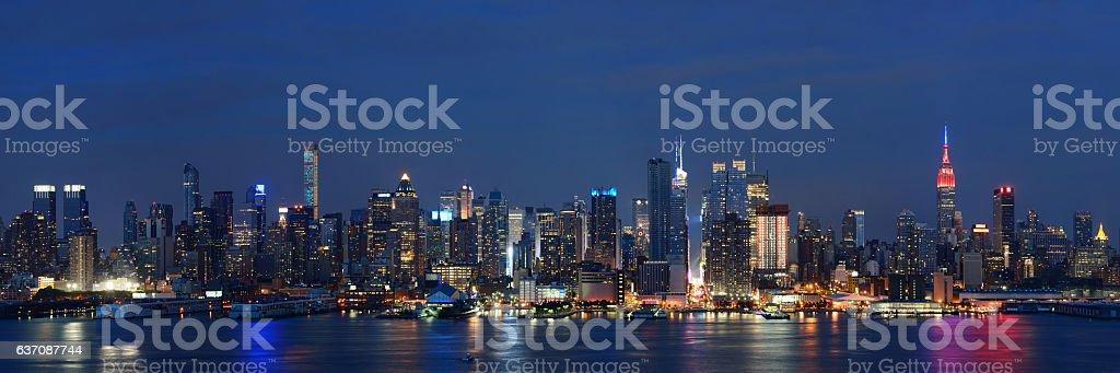 Manhattan midtown skyline at night stock photo
