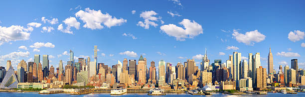 Manhattan Midtown skyline panorama stock photo