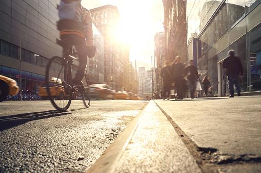 istock Manhattan motion blurred rush hour 909158872