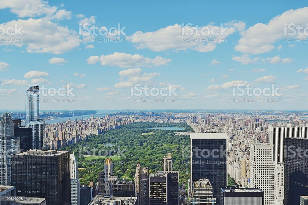 Manhattan New York and Central Park stock photo