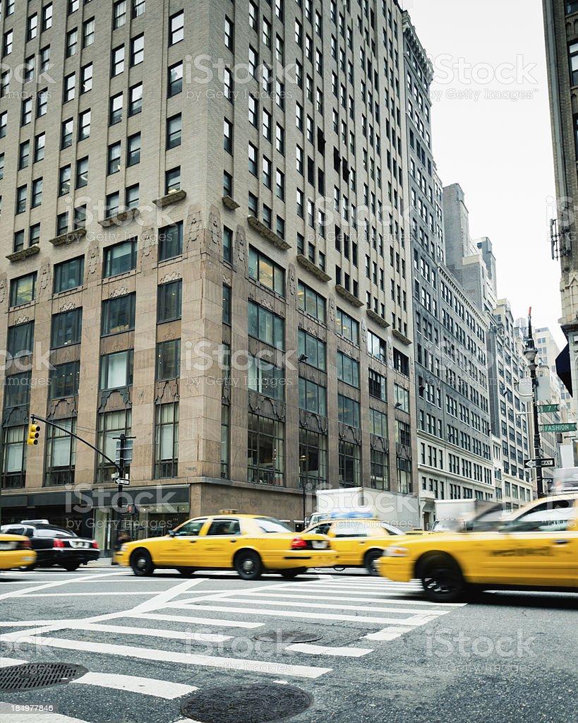 Manhattan New York City Cabs on Fashion Avenue royalty-free stock photo