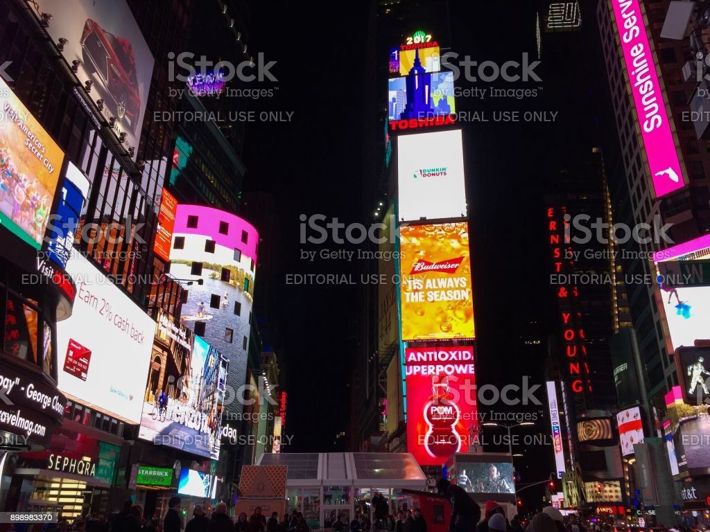 Manhattan, New York, November 23, 2017: billboard advertisements in Time Square at night stock photo