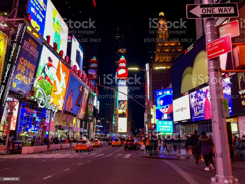 Manhattan, New York, November 23, 2017: light and street at Time Square stock photo