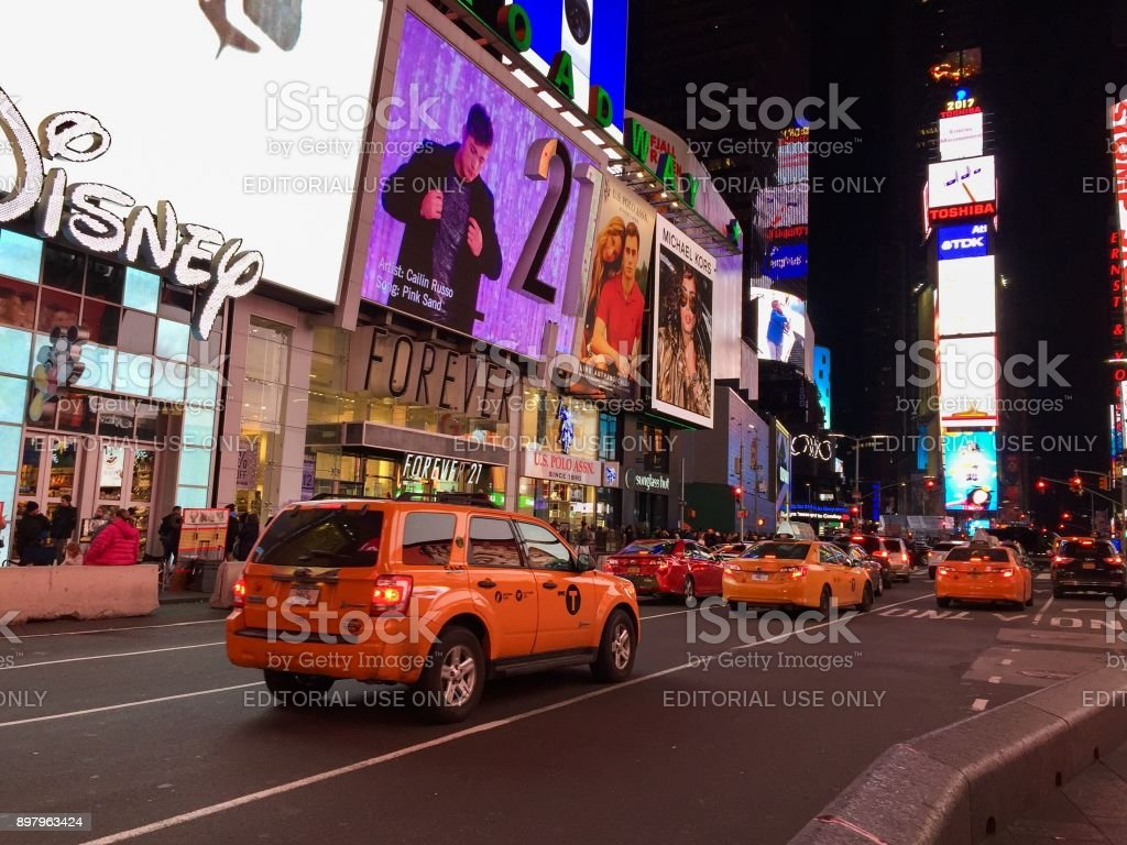 Manhattan, New York, November 23,2017: taxi on road in Times Square at night stock photo