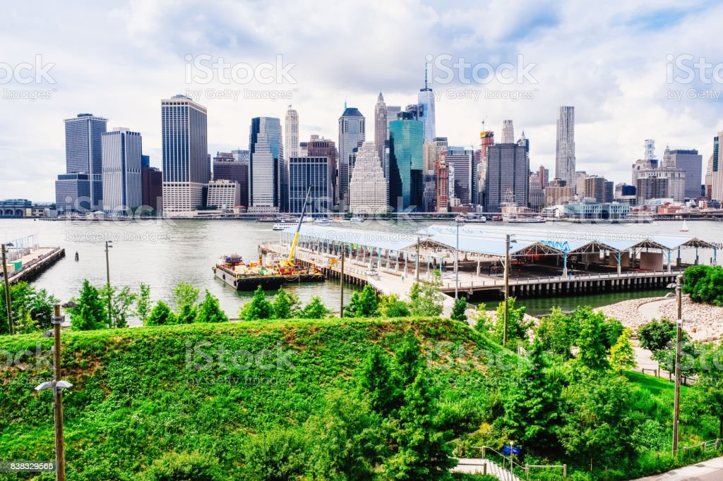 Manhattan, New York, USA from Brooklyn Bridge Park stock photo