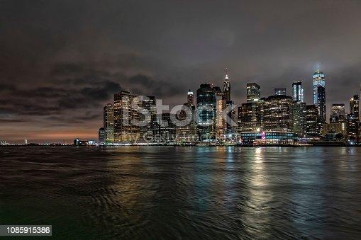 new york manhattan bridge night view from brooklyn dumbo