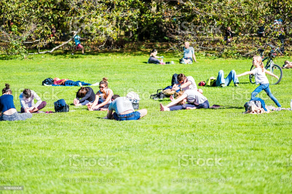 Manhattan NYC Central park with many people stretching yoga exercising on great lawn grass meadow in autumn fall summer stock photo