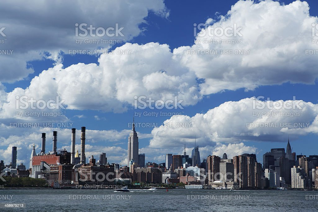 Manhattan NYC cityscape with clouds royalty-free stock photo