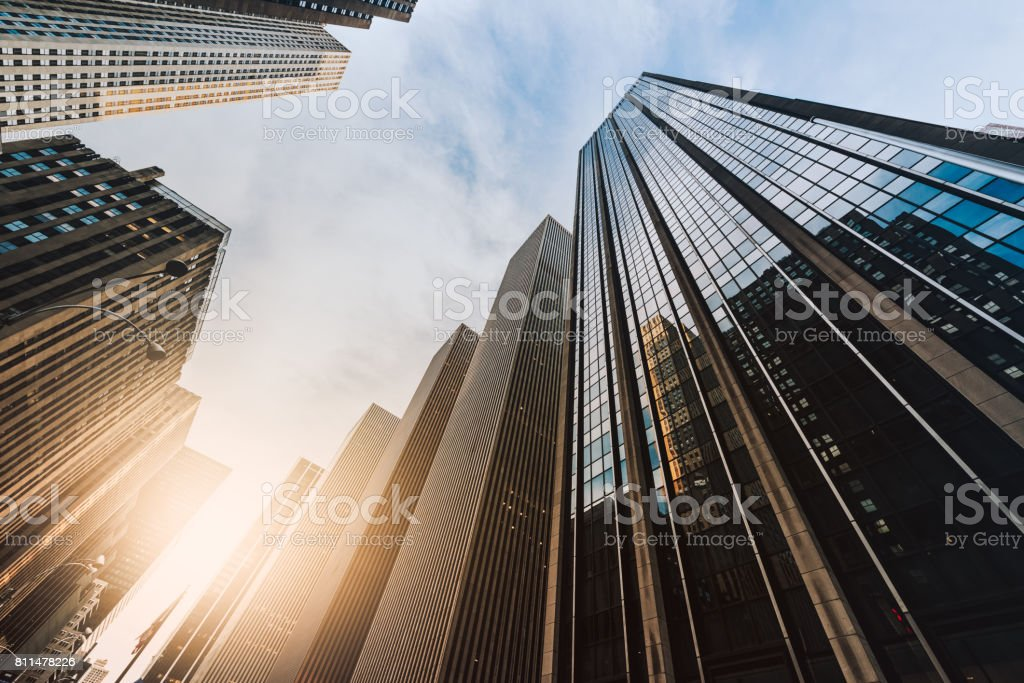 Manhattan office building from below stock photo