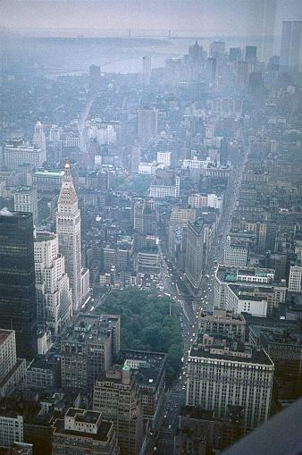 New York City, NY, USA, 1969. Manhattan on a foggy and rainy day.