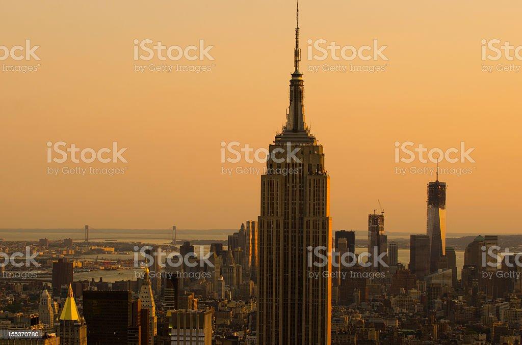 Manhattan skyline at dusk, Empire State Buliding royalty-free stock photo