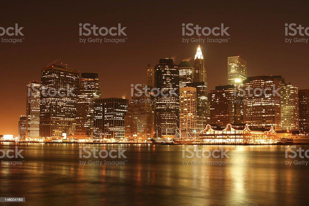 Manhattan skyline at Night, New York City royalty-free stock photo
