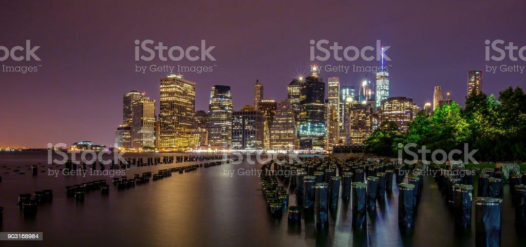 Manhattan Skyline At Night stock photo