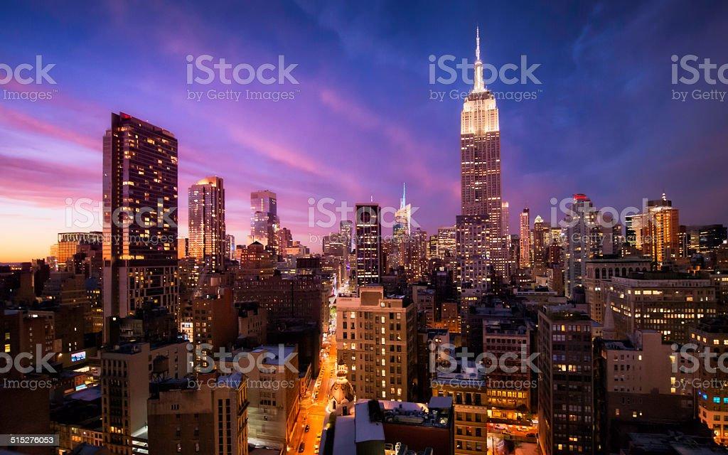 Manhattan skyline at sunset, New York stock photo