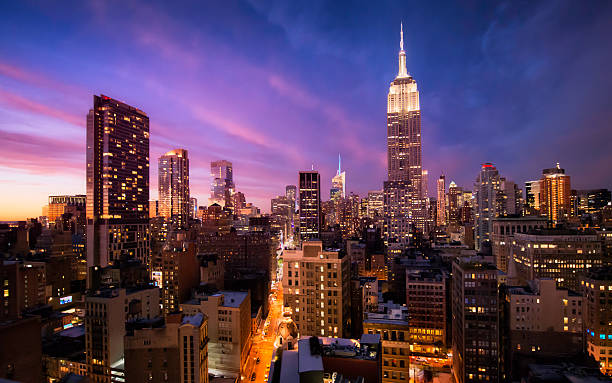 manhattan skyline at sunset, new york - empire stock pictures, royalty-free photos & images