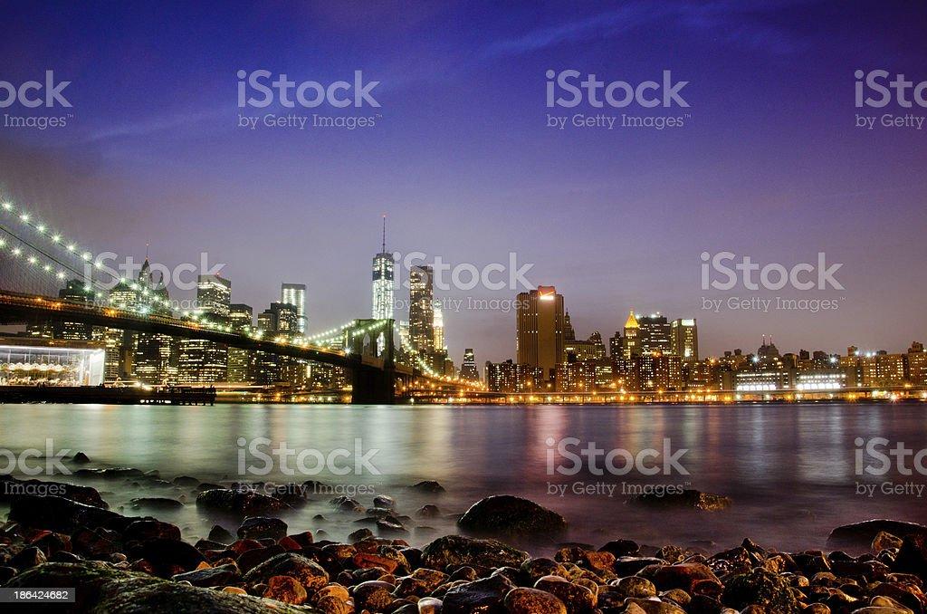 Manhattan Skyline & Brooklyn Bridge royalty-free stock photo