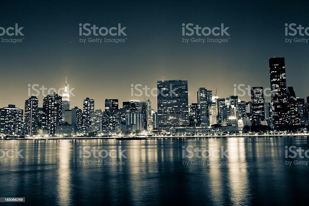 manhattan skyline by night royalty-free stock photo