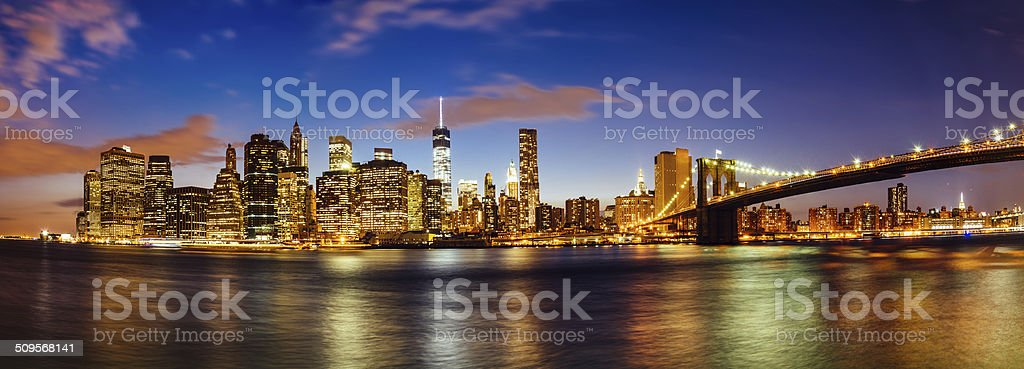 Manhattan skyline by night stock photo